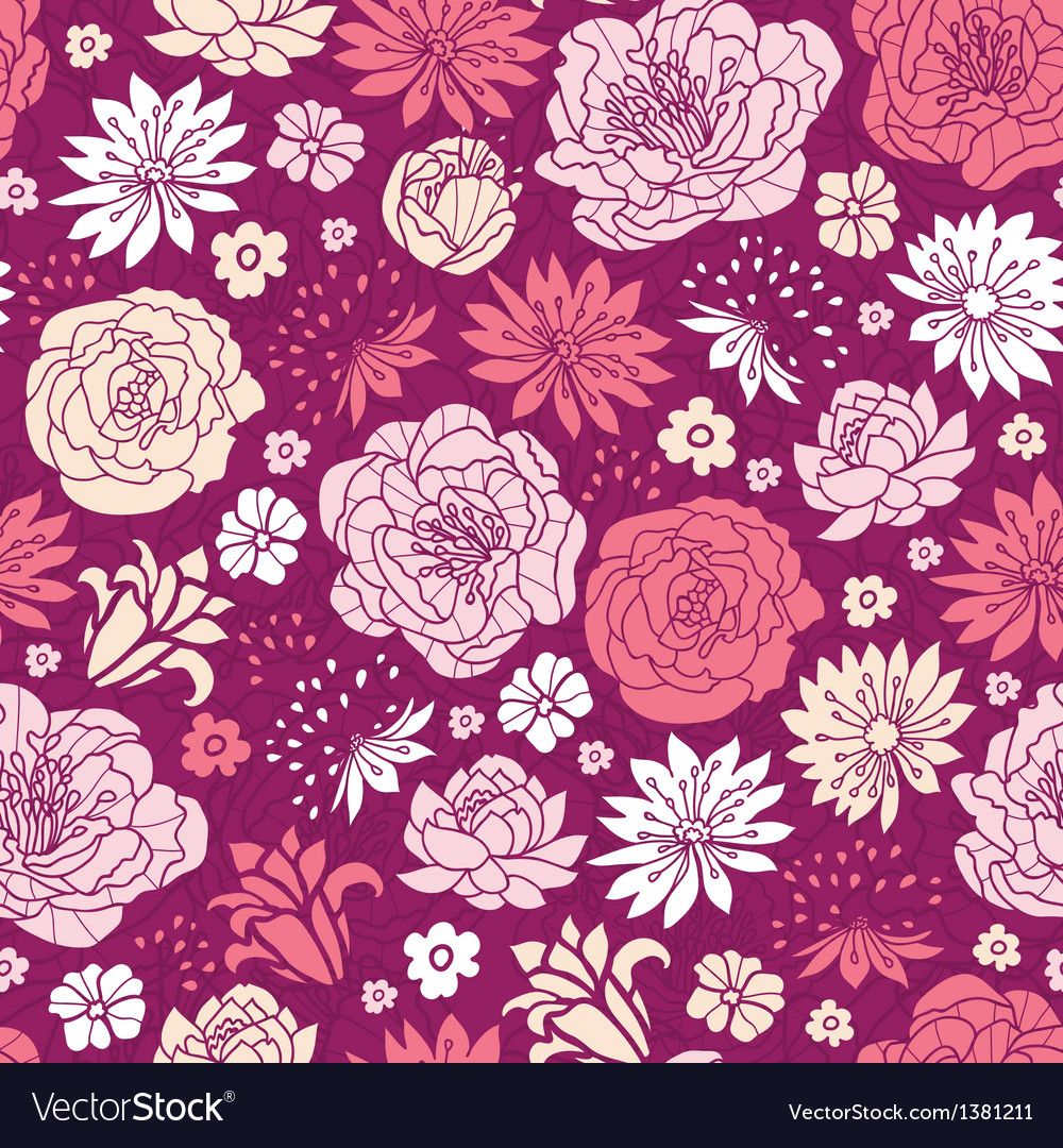 Purple pink flower silhouettes seamless pattern vector