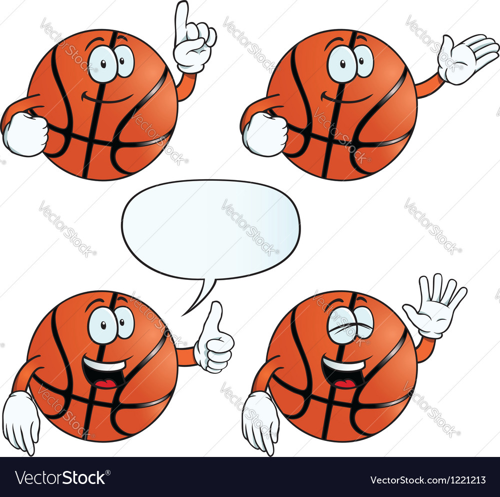 Smiling basketball set vector