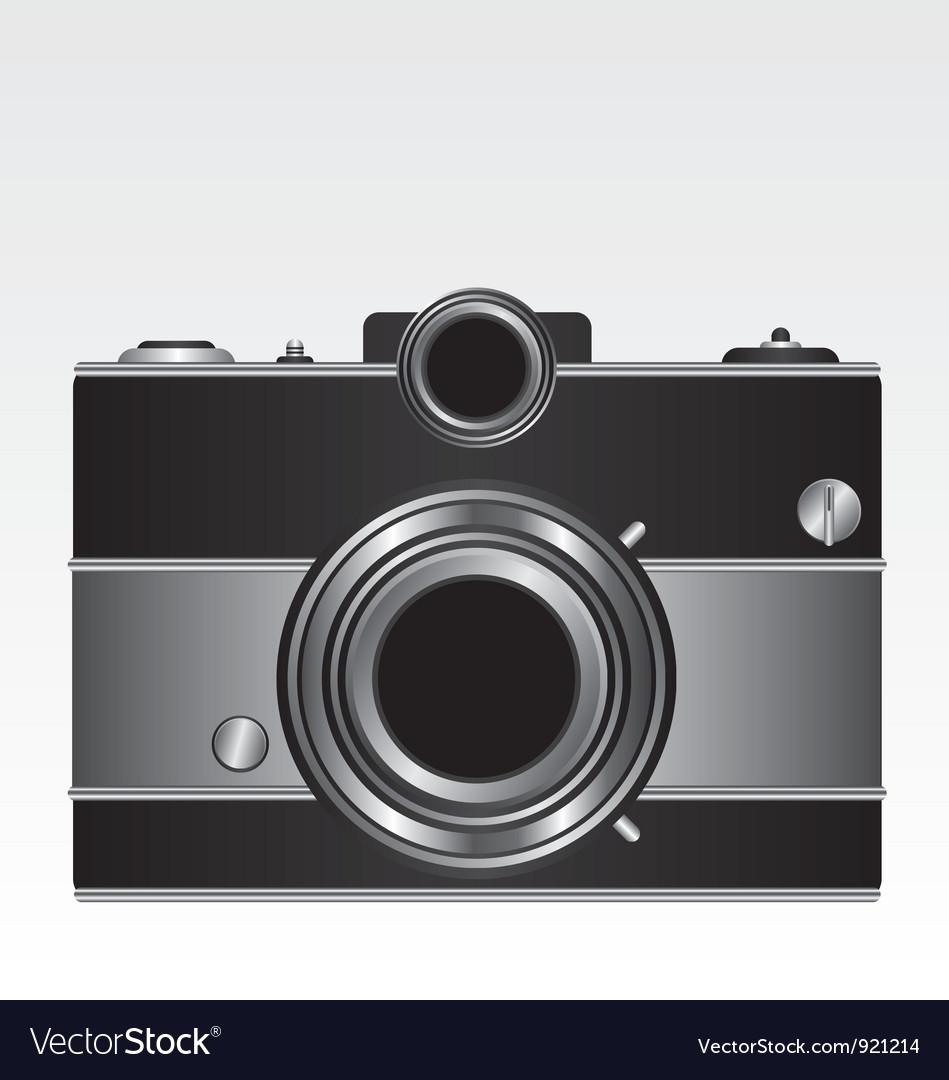 Retro black camera vector