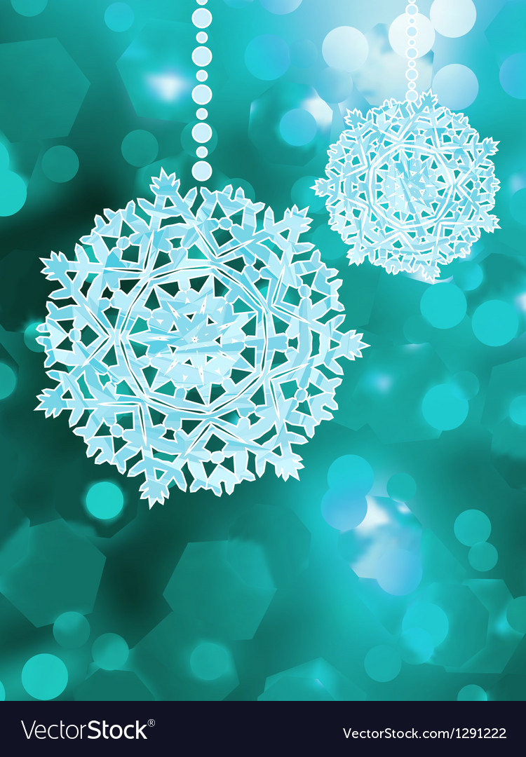 Blue snowflake over bokeh background eps 8 vector