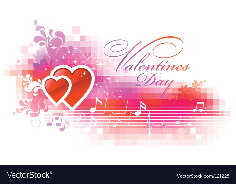 Valentines pixelated background with hearts vector