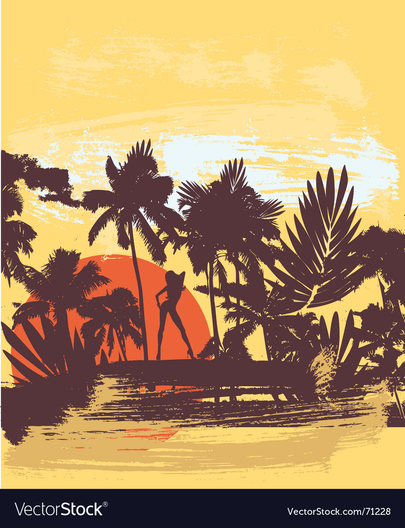 Summer palm vector