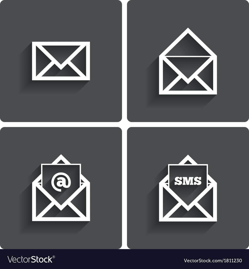 Mail icons mail sms symbol at sign letter vector