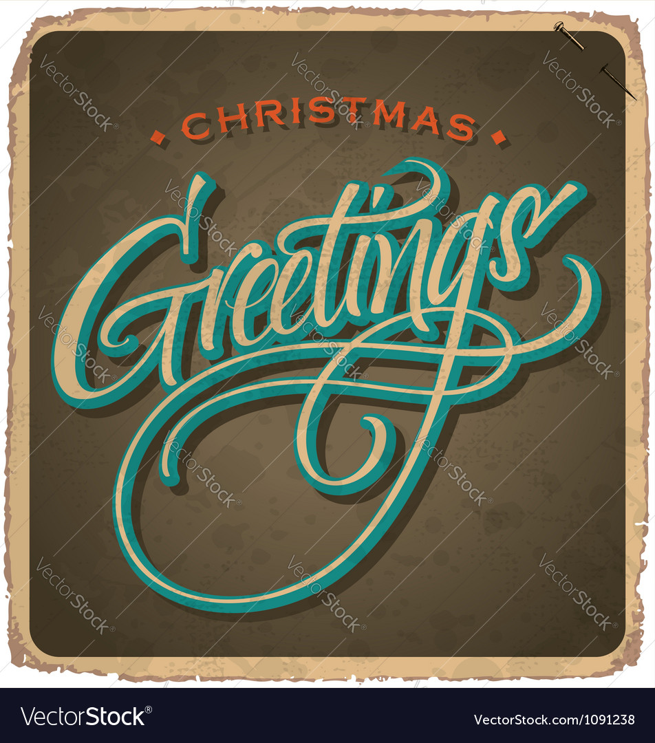 Handlettered vintage christmas card vector