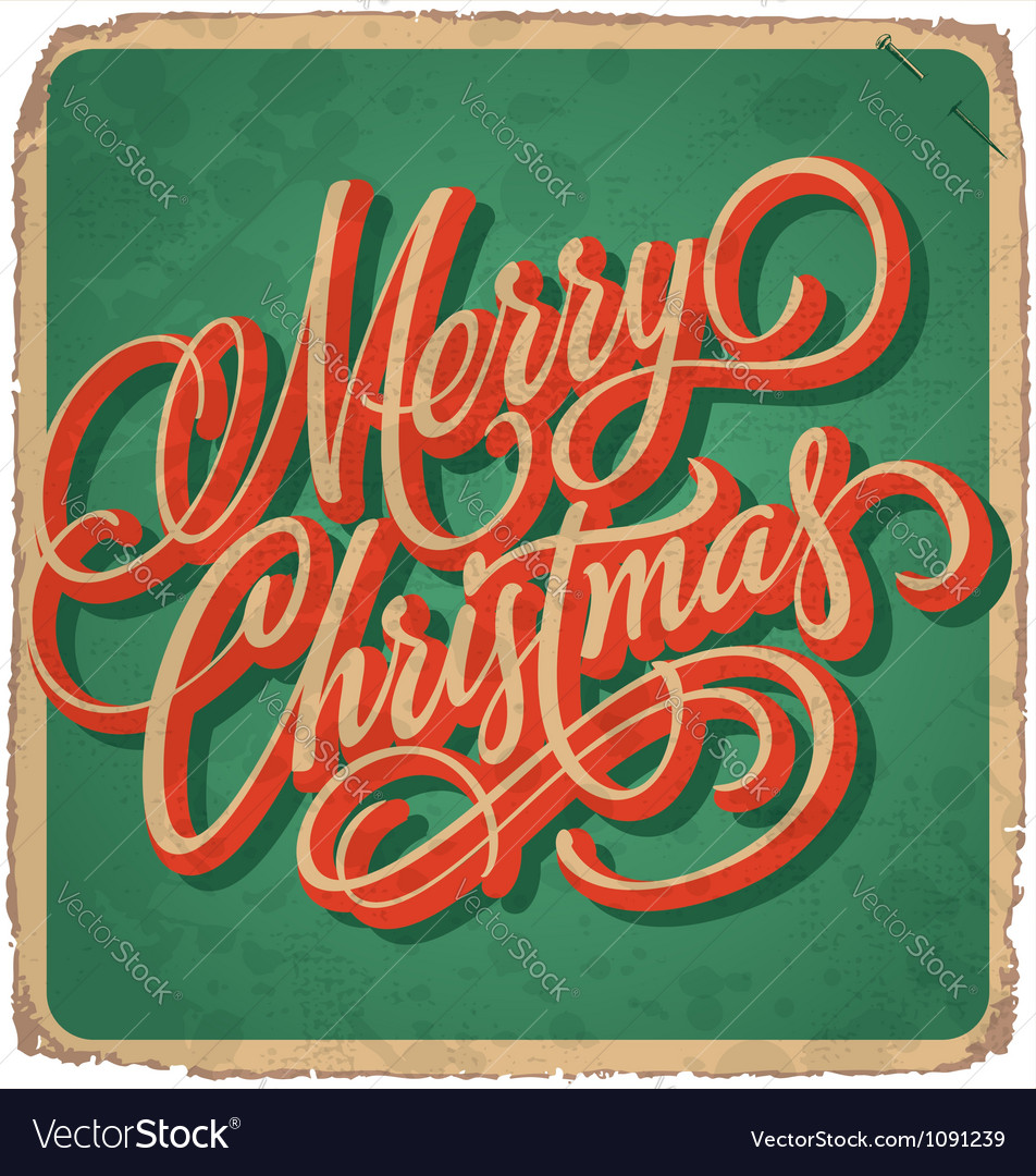 Handlettered christmas card vector