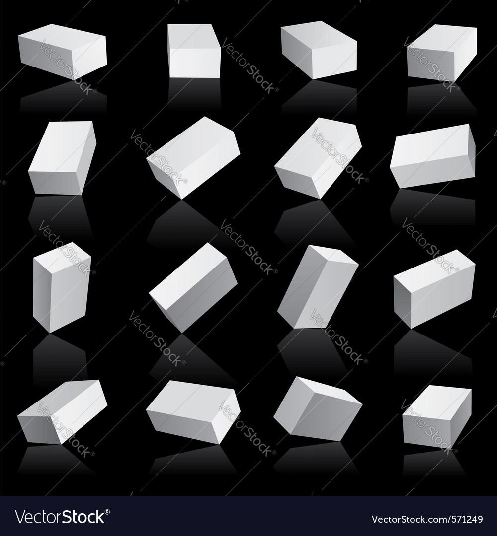 White boxes cube set vector