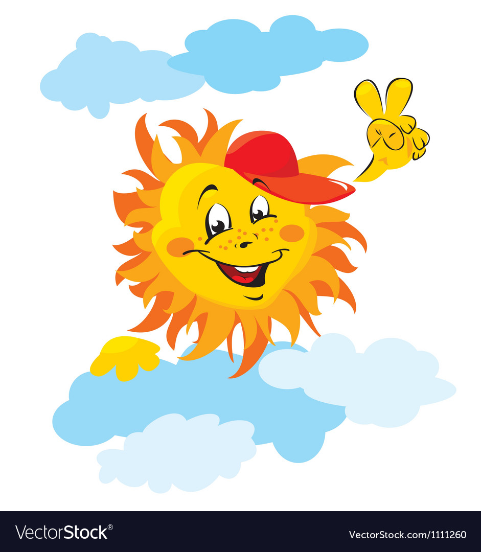 Smiling sun cartoon vector