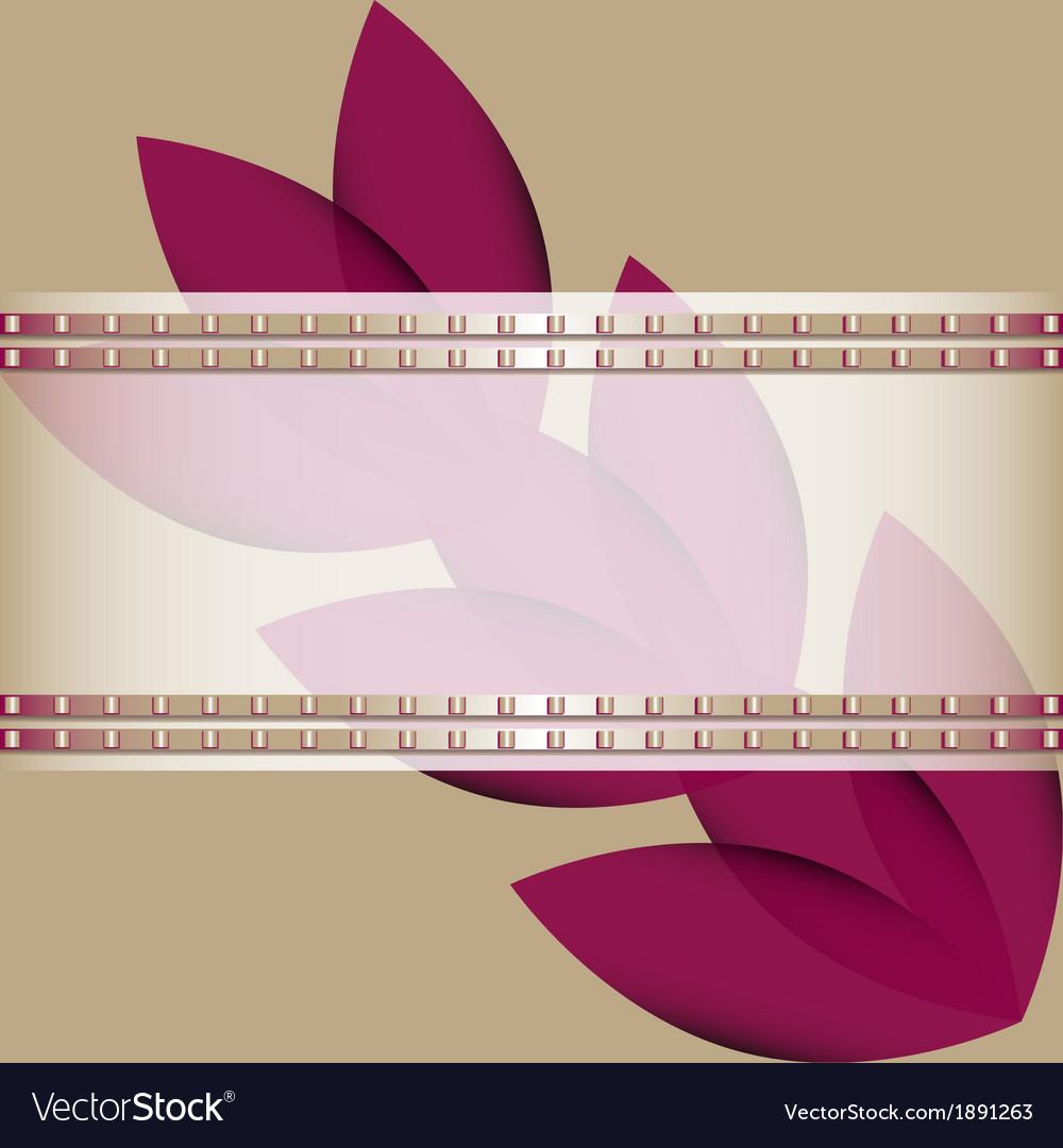 Purple flowers diagonally and ribbon
