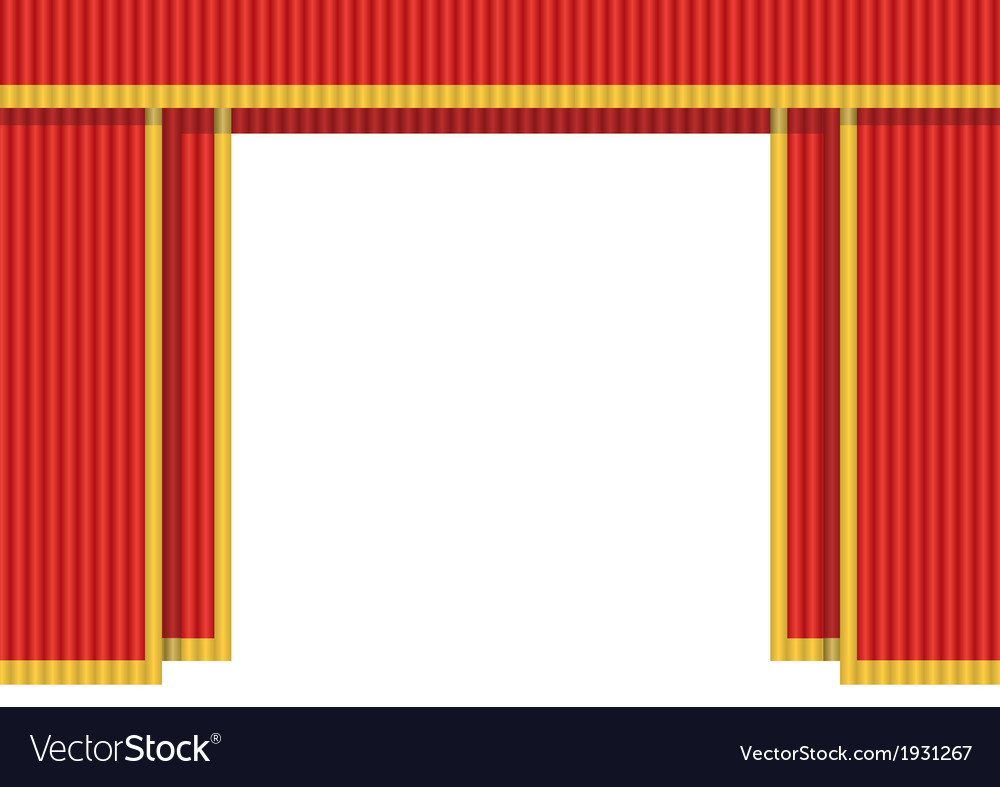 Red curtain open vector