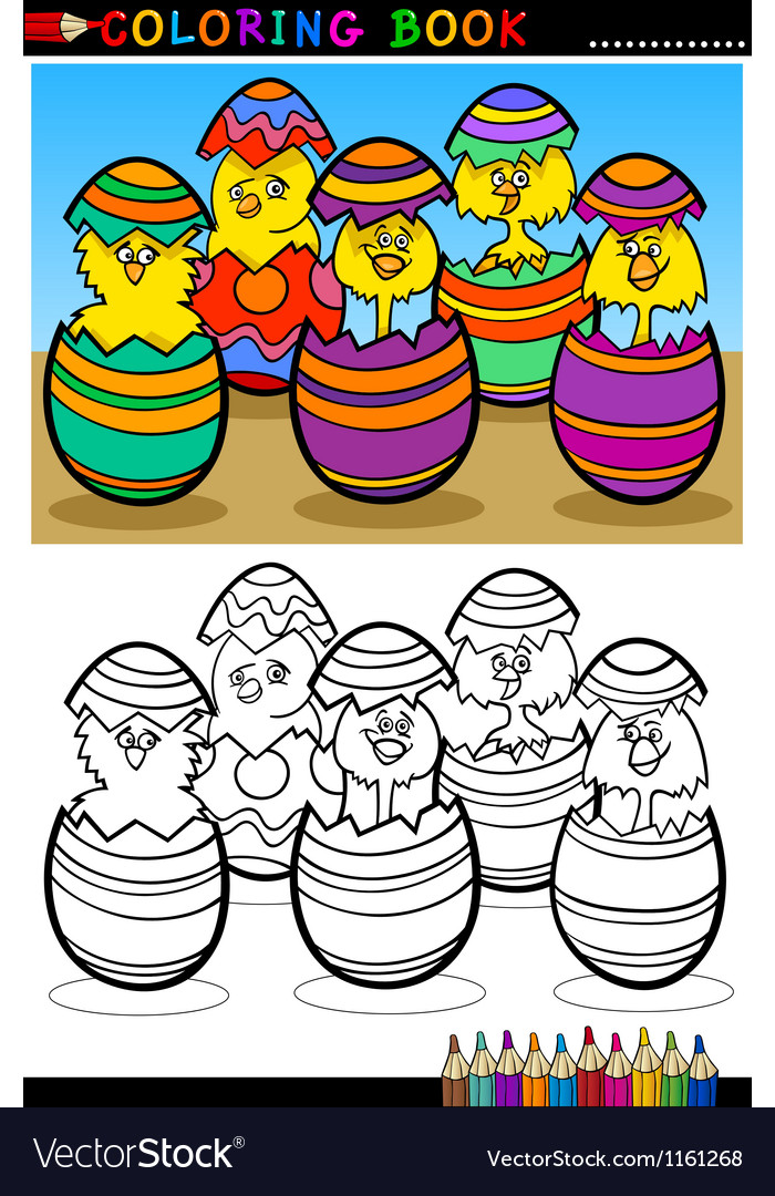 Cartoon chicks in easter eggs coloring page vector
