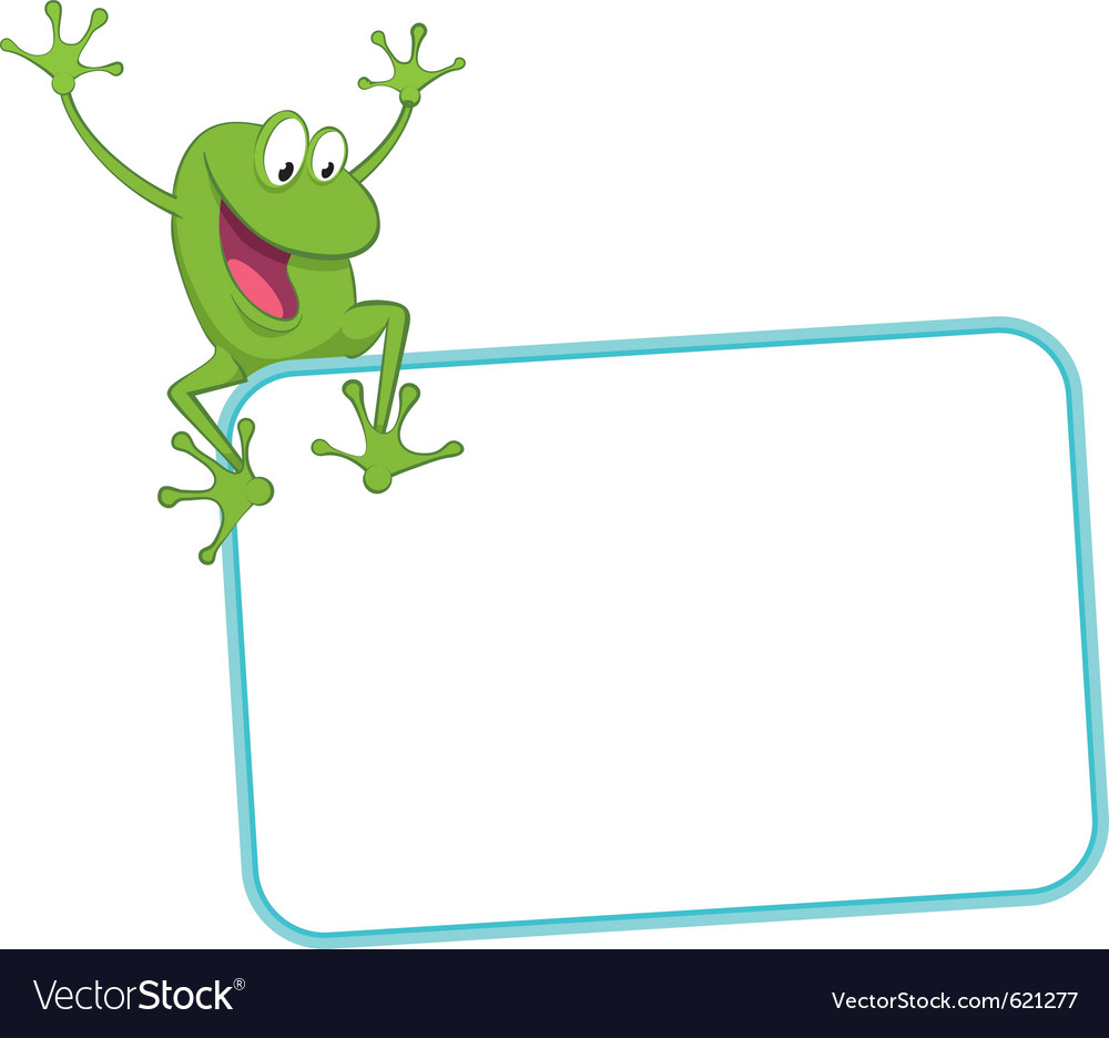 Label  joyful frog on the frame vector
