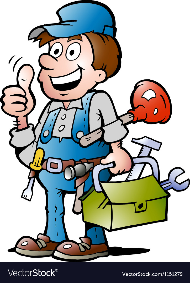 Handdrawn of an happy plumber handyman giving vector