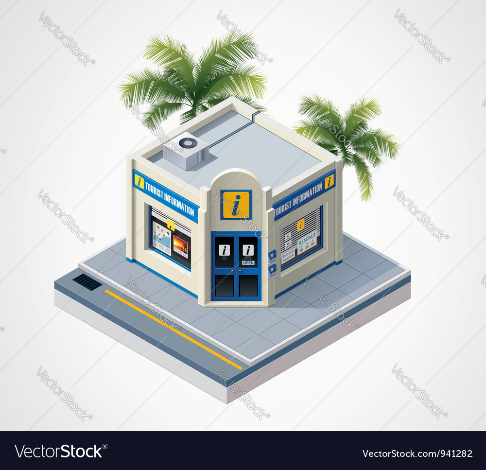 Isometric tourist information center vector