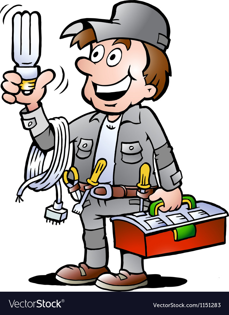 Handdrawn of an happy electrician handyman vector