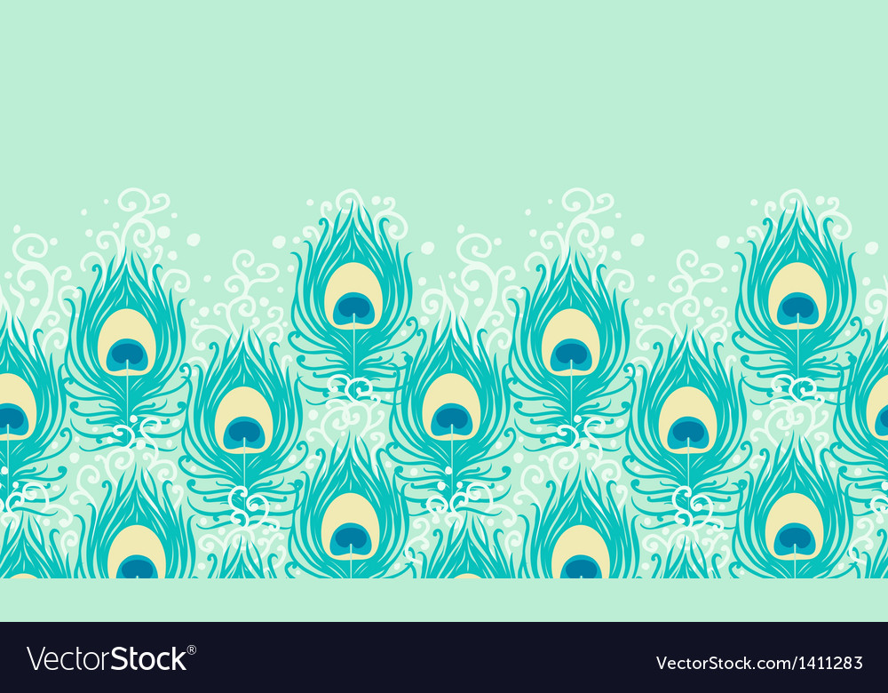 Peacock feathers horizontal seamless pattern vector