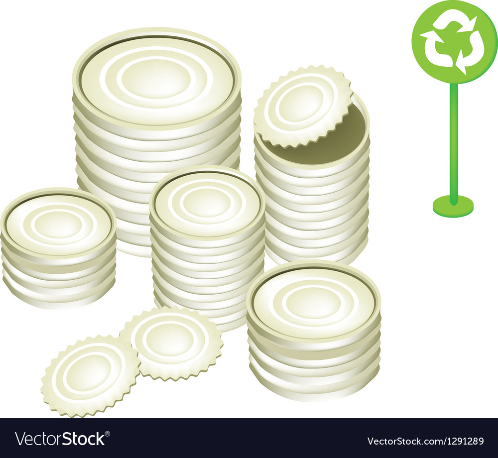 Tin cans and recycling symbol vector