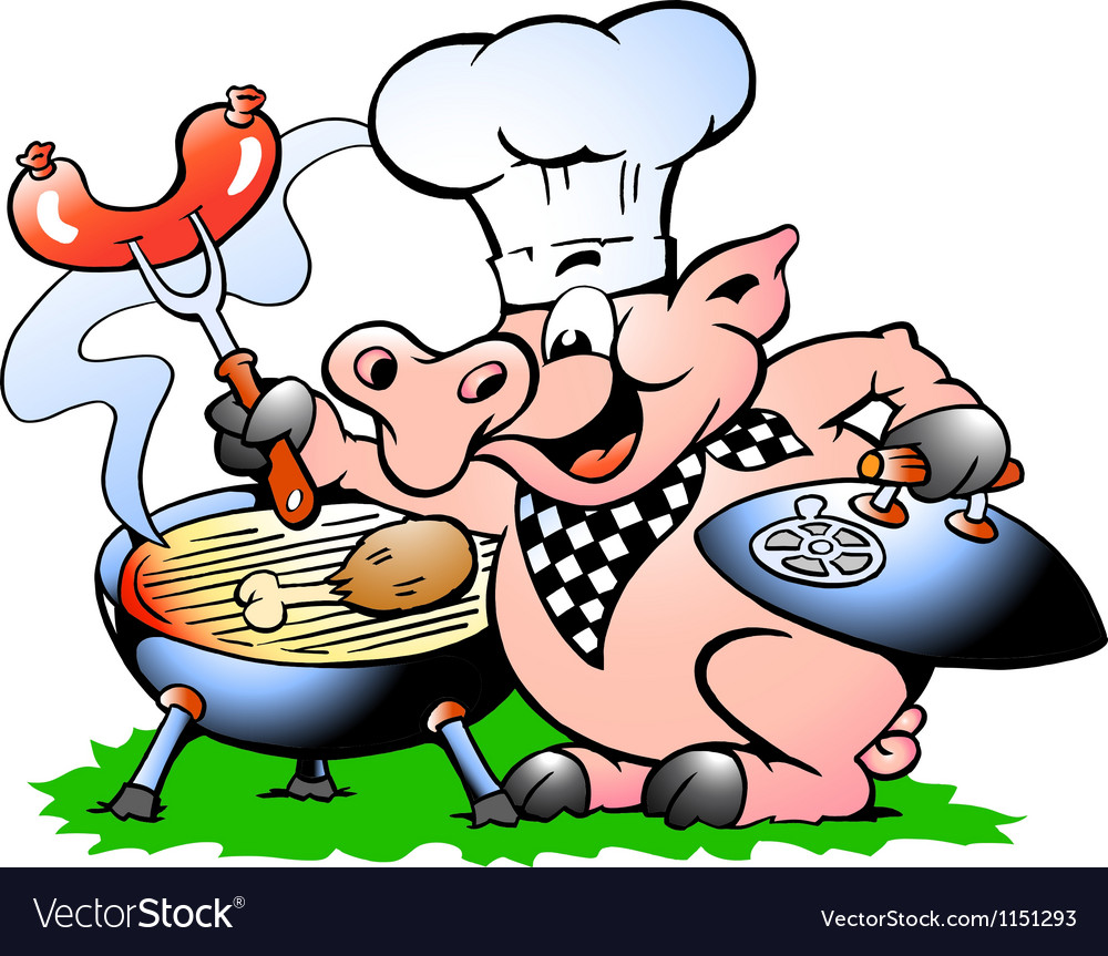 Handdrawn of an chef pig standing and making bbq vector