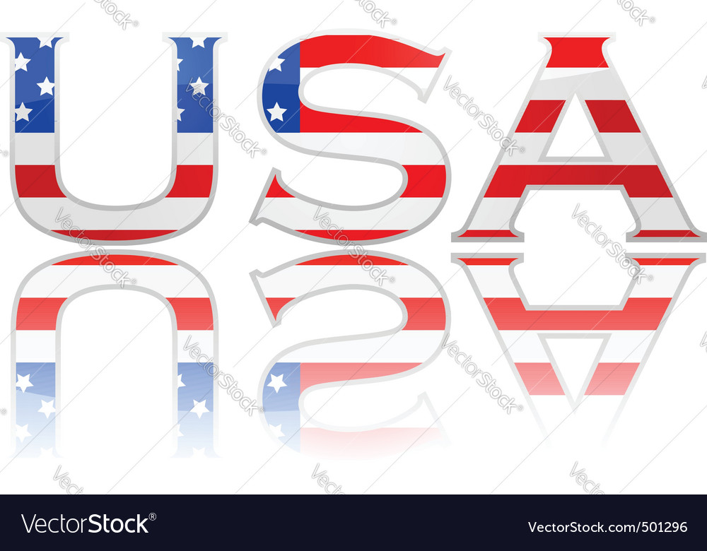 Flag in letters usa vector