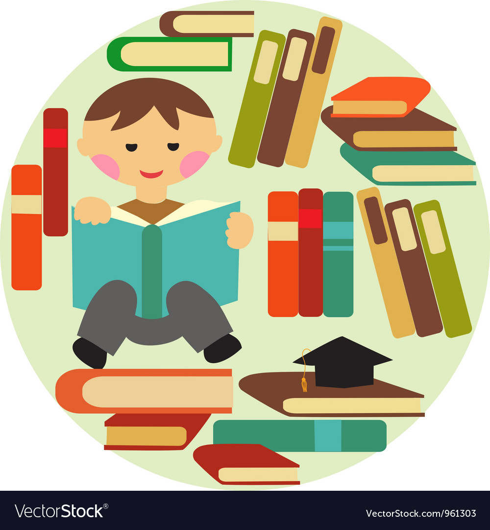 Boy reading on pile of books vector