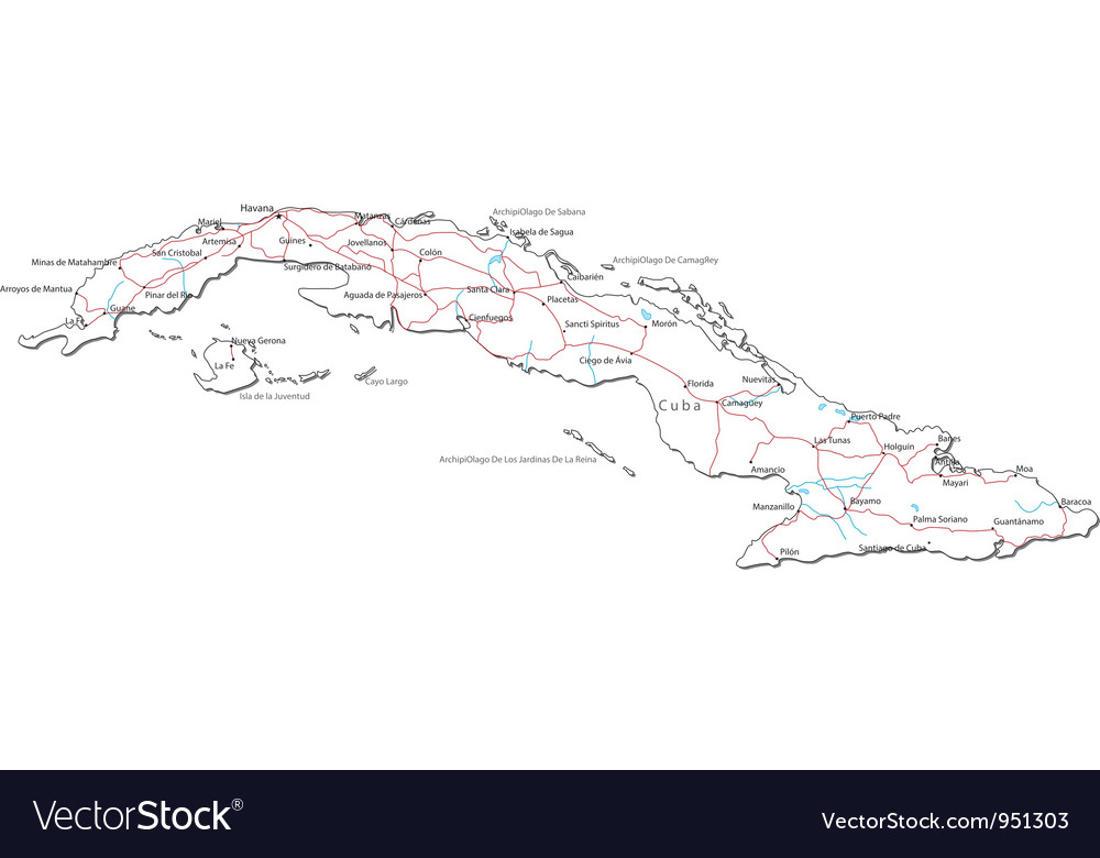 Cuba black white map vector