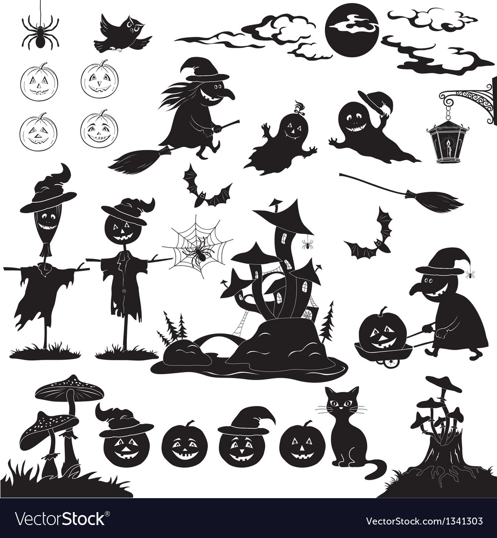 Halloween cartoon set black silhouette vector