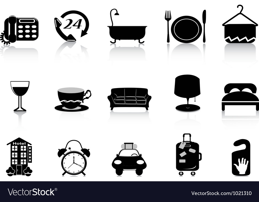 Black hotel icons vector