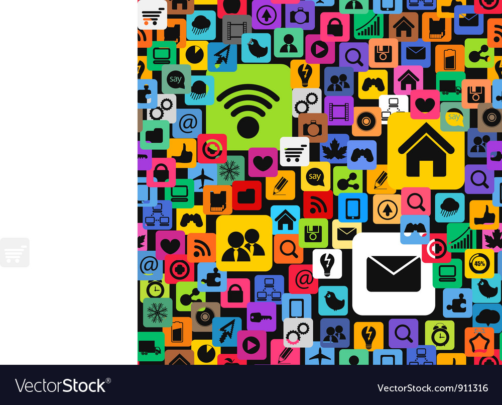 Modern color social media icons vector