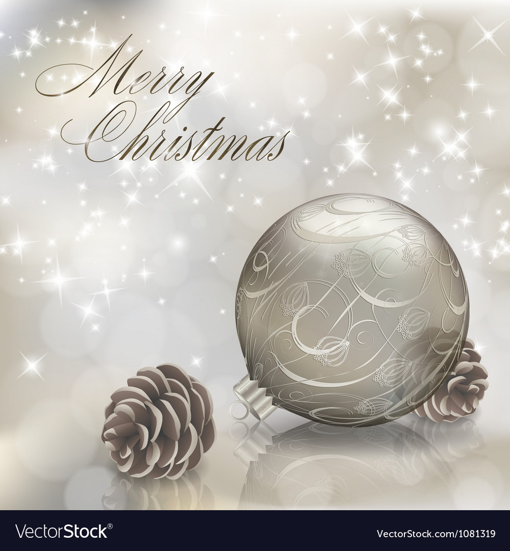 Silver christmas greeting card vector