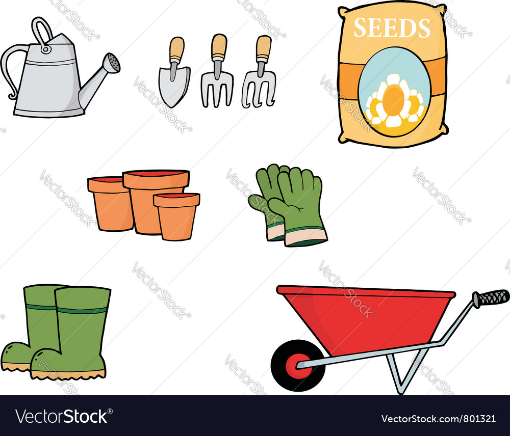 Collage of gardening tools vector