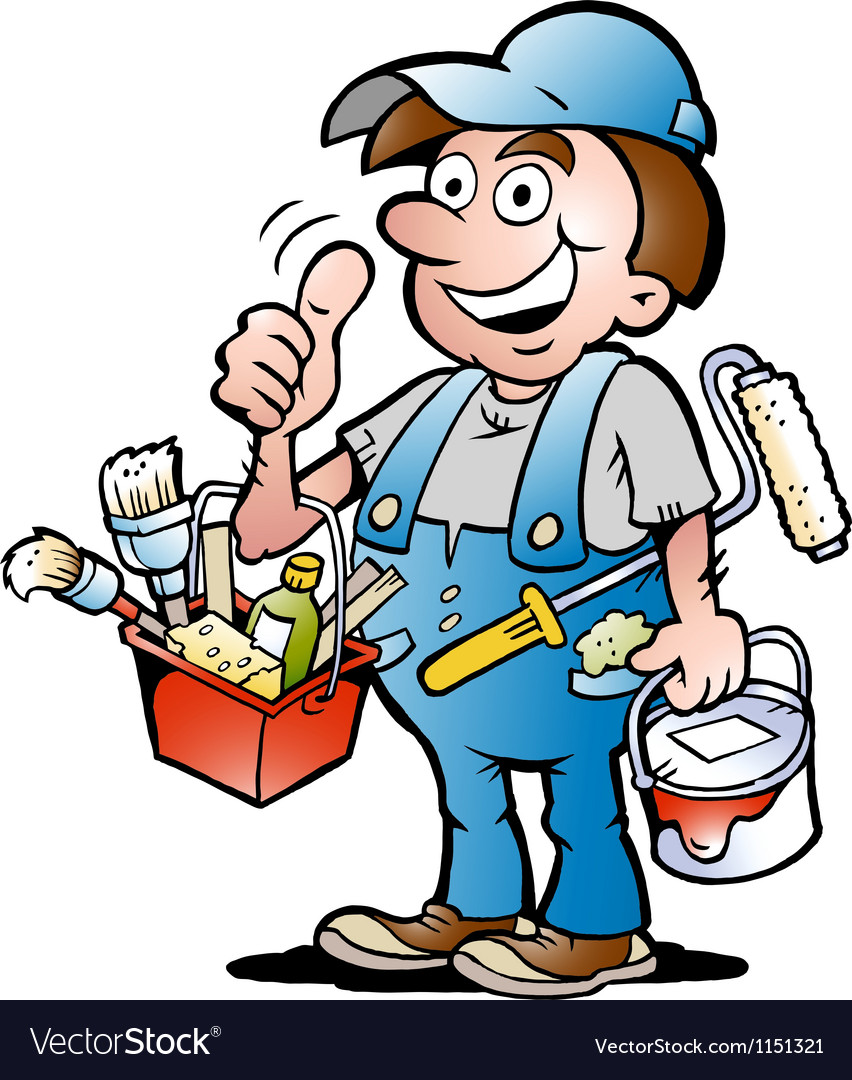 Handdrawn of an happy painter handyman giving vector