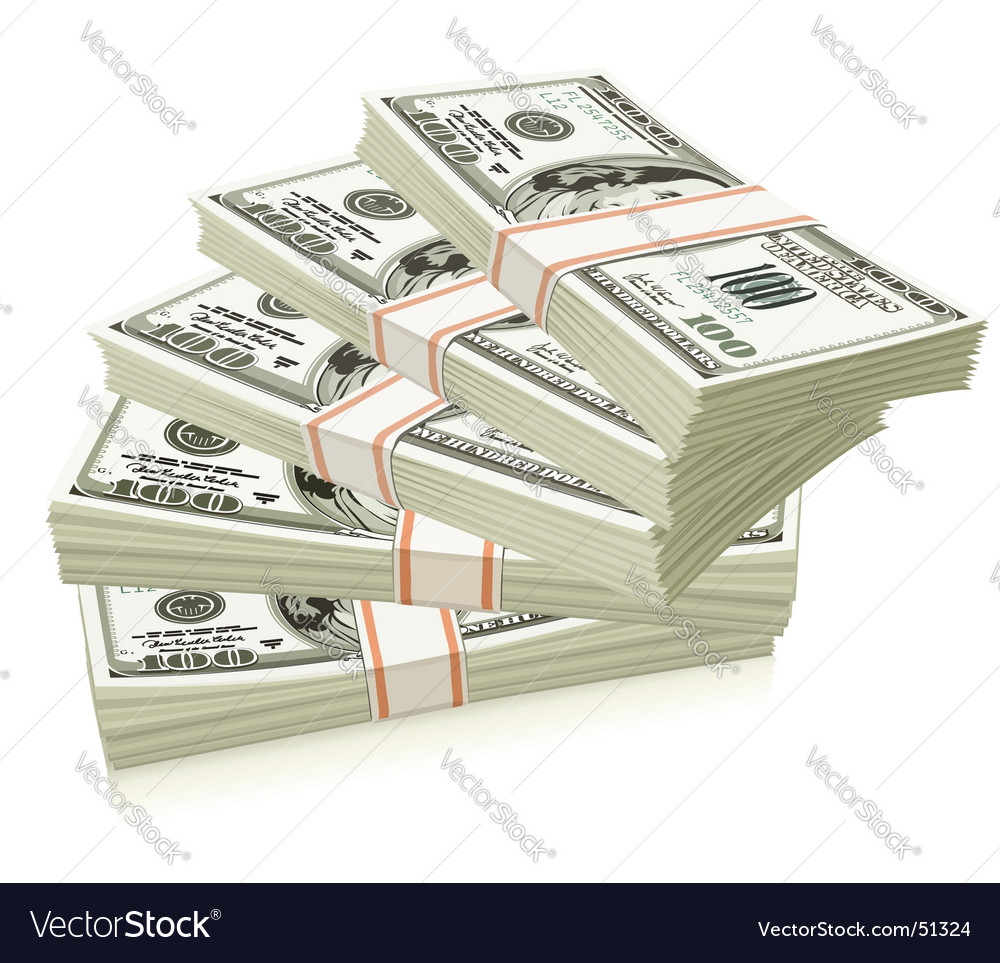 Packs of dollars vector