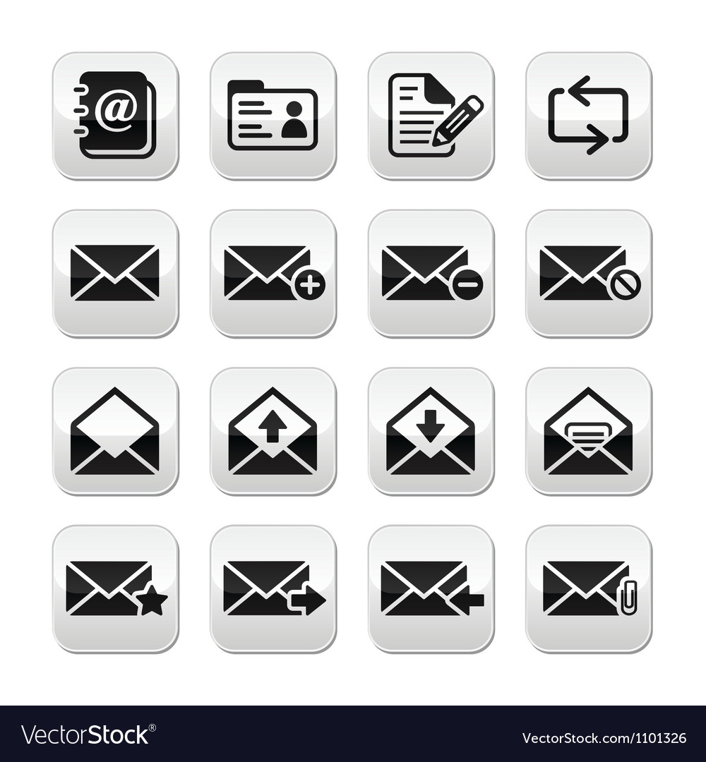 Email mailbox buttons set vector