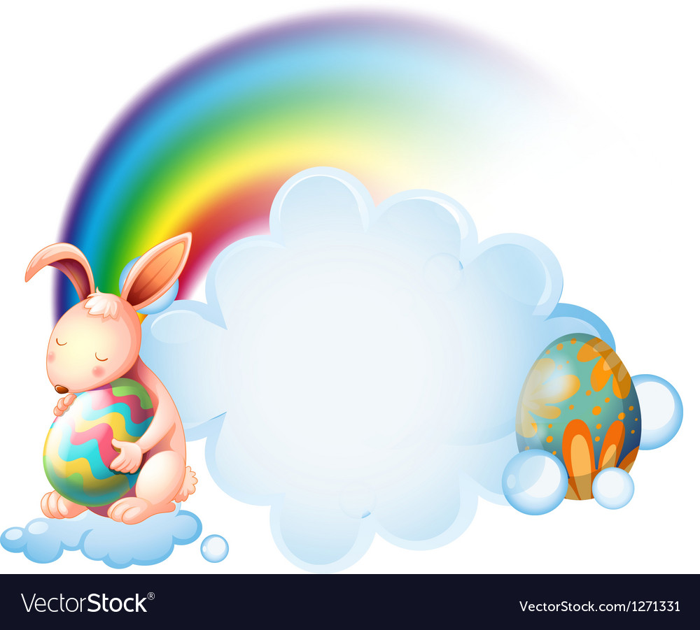 A bunny hugging an easter egg near the rainbow vector