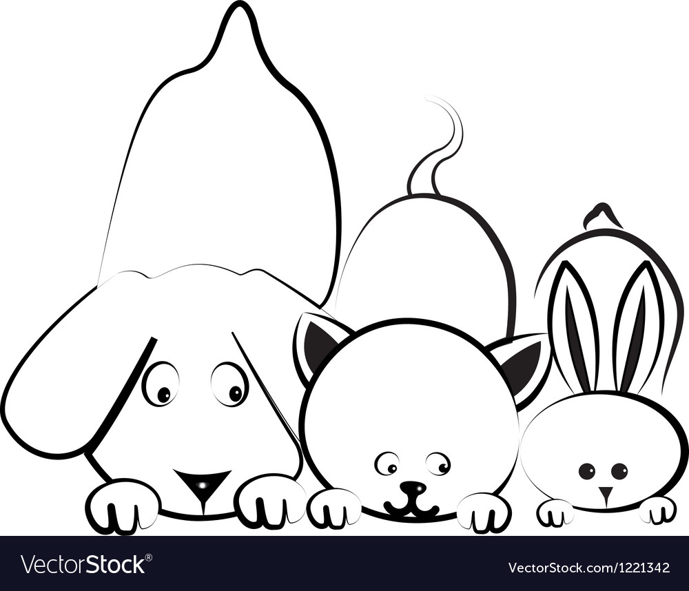 Dog cat and rabbit logo vector