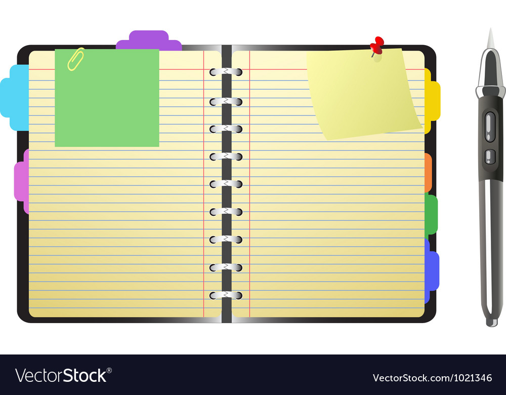 Open personal organizer and pen vector