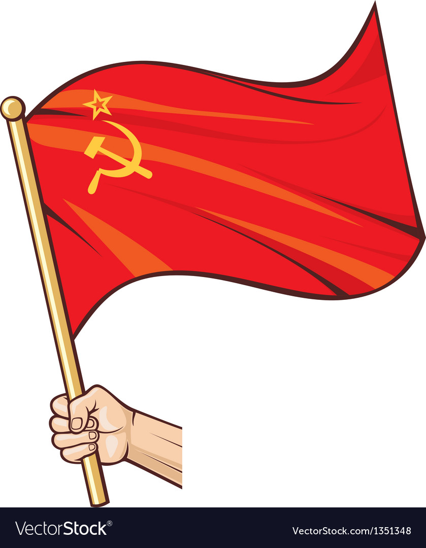 Hand holding ussr flag vector