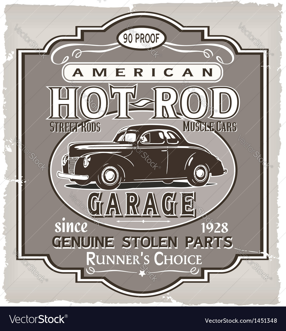 Hotrod runner garage vector