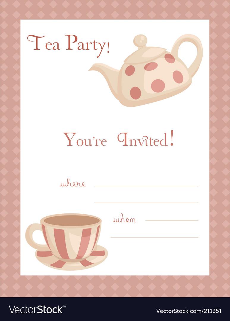 tea party invitation vector by kariiika  image   vectorstock, Party invitations
