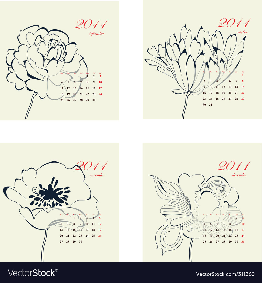 Calendar with flowers for 2011 vector