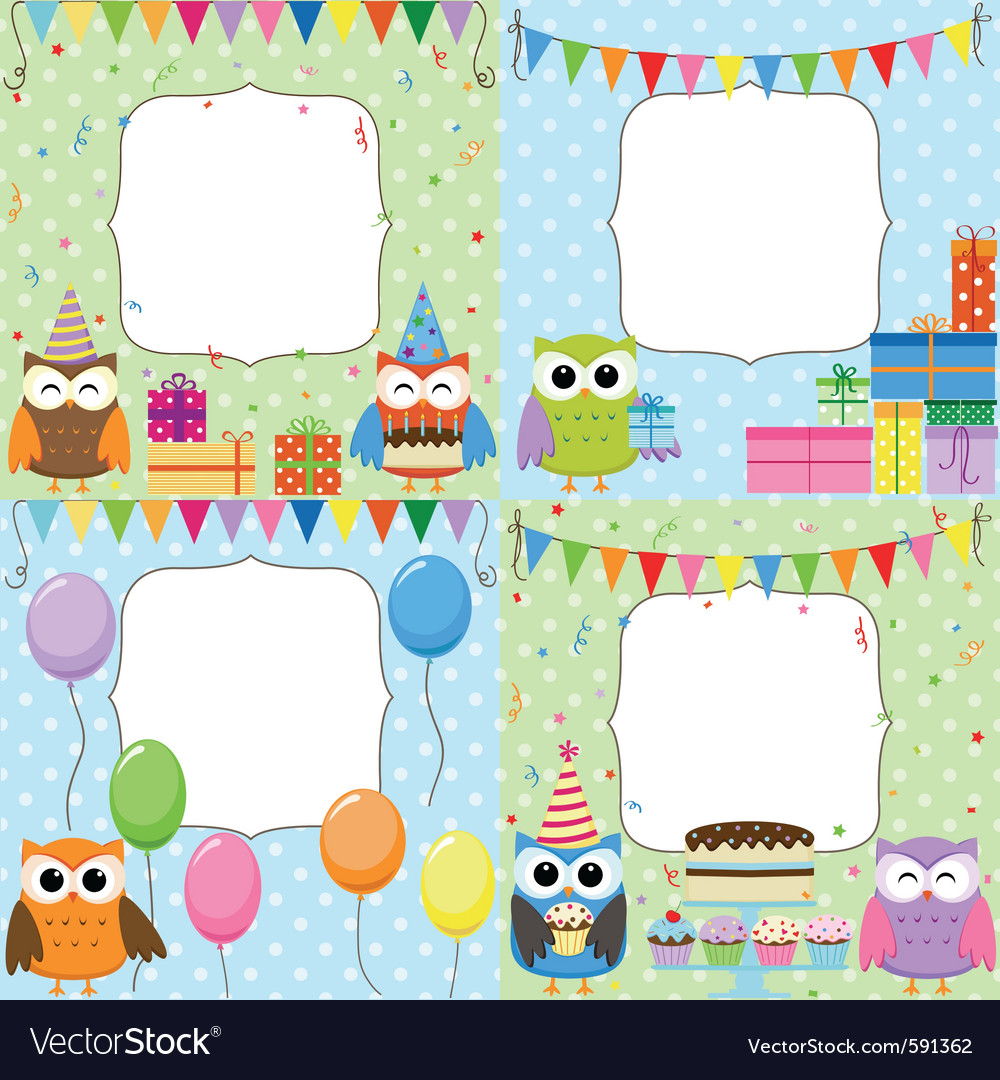Birthday party cards vector by Yulia_M - Image #591362 - VectorStock