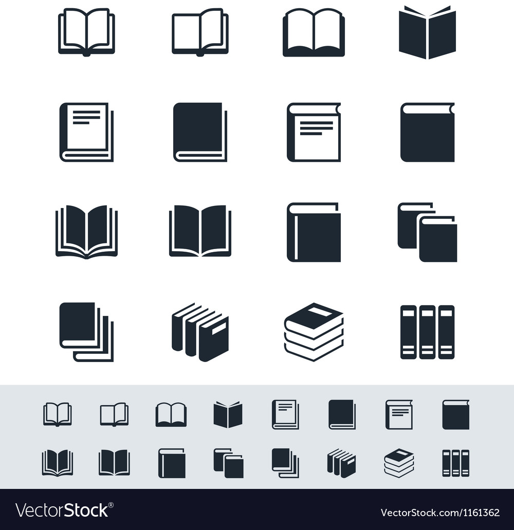 Book icon set simplicity theme vector