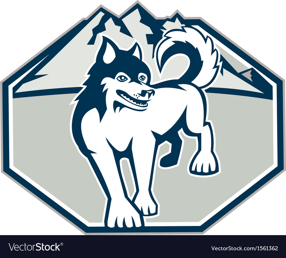 Siberian husky dog mountain retro vector