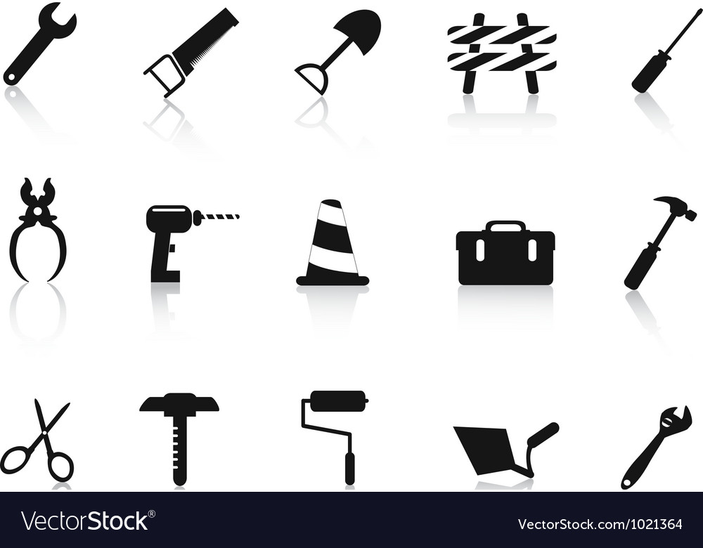 Set of black construction hand tool icon vector