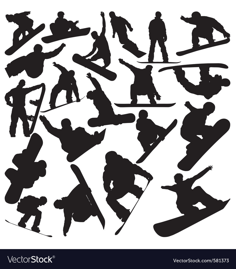 Snowboarder Silhouettes Vector By Rheyes Image 581373