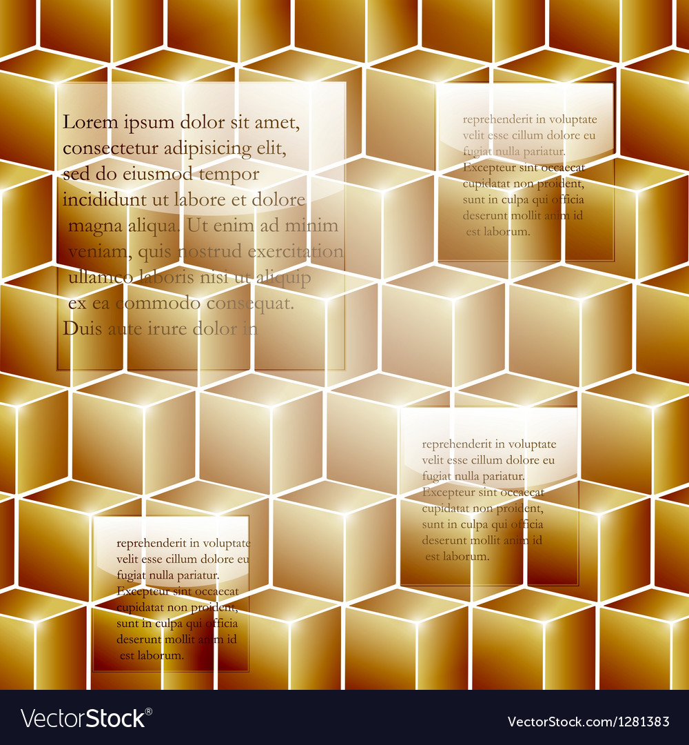 Infographic template background with golden cubes vector