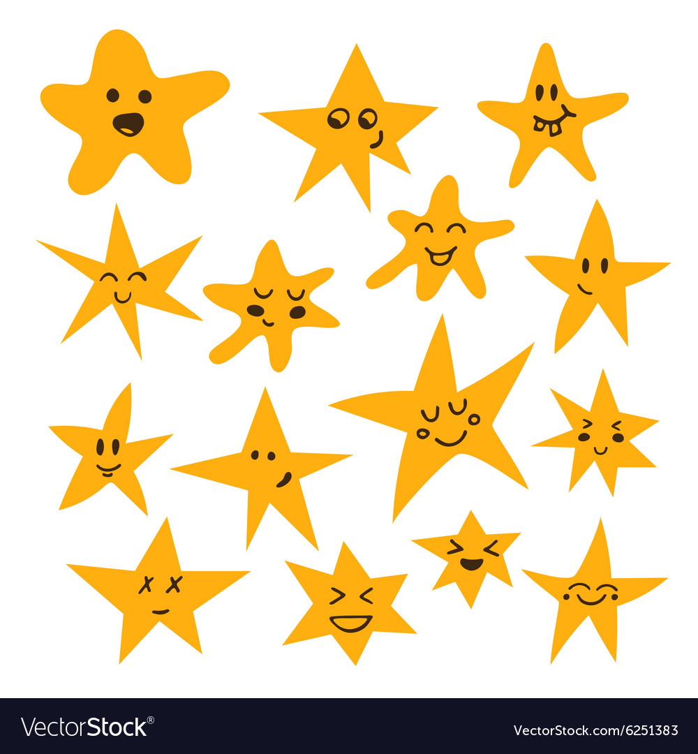 Set of hand drawn cute and funny stars cartoon vector