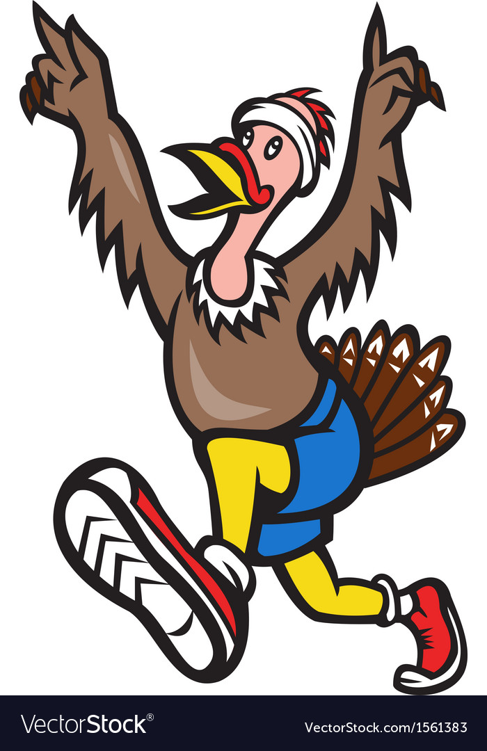 Turkey run runner cartoon isolated vector