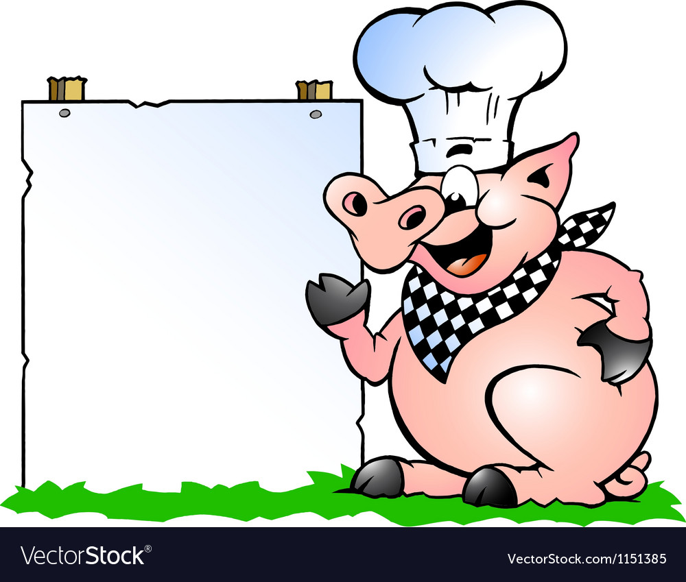 Handdrawn of an chef pig standing and pointing vector