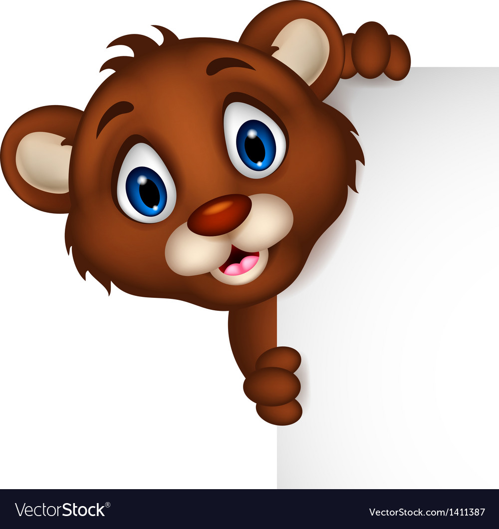 Cute little brown bear cartoon with blank sign vector