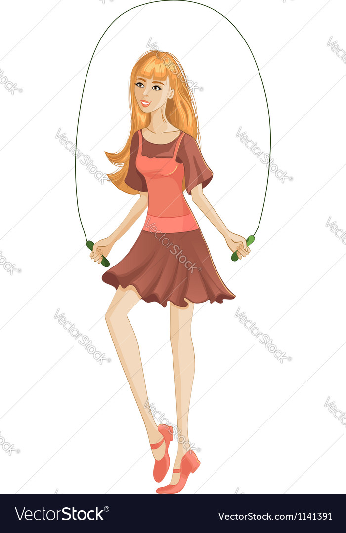 Girl jumping a rope vector